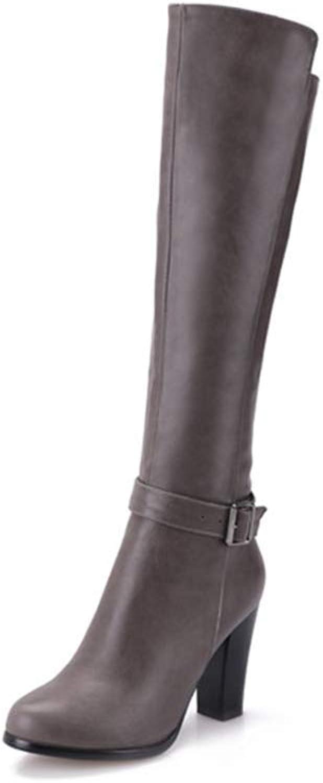 Women Thick High Heel Fashion Zipper shoes Comfort Warm Winter Long Boot Lady Knee-high Boots