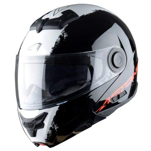 Astone Helmets - RT800 graphic exclusive STRIPES - Casque de moto modulable - Casque de moto 2 en 1 - Casque polyvalent route et ville - Casque en polycarbonate - black white L