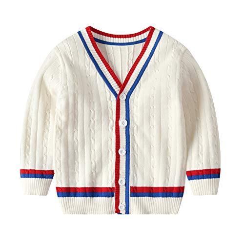 Gyratedream Baby Jongens Sweater Vest Katoen Lange Mouw V-hals Gestreepte Breien Kleding