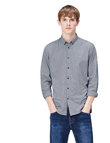 FIND Camisa de Cuadros Ajustada para Hombre, Azul (Navy), Large