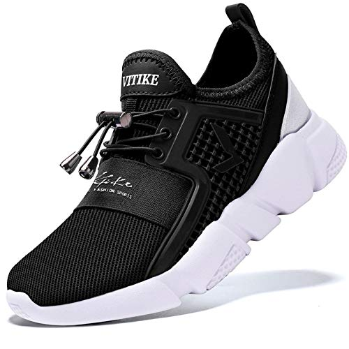 Garçon Fille Chaussures de Course Tennis Sneakers Walking Shoes Baskets Mode Mixte Enfant Running Sneakers, 6 Noir, 36 EU