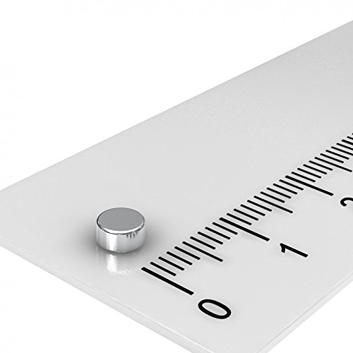 20 x Neodym Scheiben Magnet, 4 x 2 mm, Grade N45, vernickelt, mini Magnet, axial magnetisiert