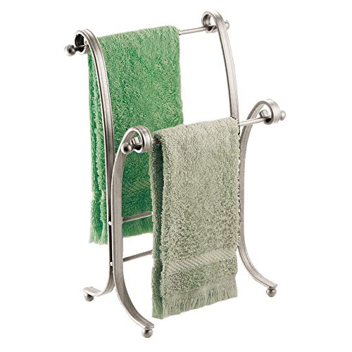 iDesign York Metal Free-Standing Hand Towel Drying Rack for Master, Guest, Kids' Bathroom, Laundry Room, Kitchen, 6' x 9' x 13.5', Satin Silver