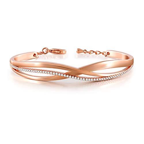 QLEESI Bracelet en or rose pour les femmes, bracelets manchette réglable zircon cubique Bracelet cadeau d'anniversaire pour les filles (Or rose)