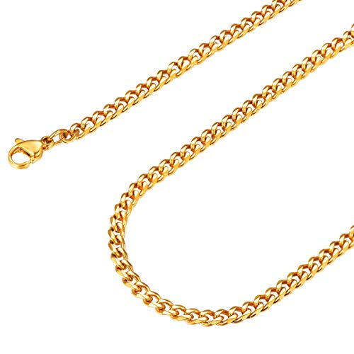 FOCALOOK Herren Halskette Edelstahl 3mm massiv Panzerkette Halskette Männer Jungen 55cm/22 18k vergoldet Gliederkette Punk Hip Hop Rapper Halsschmuck(Gold)