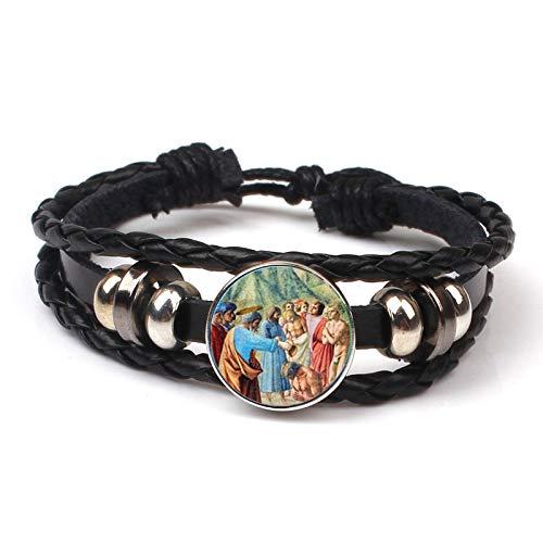 YITIANTIAN Vintage Clásico Madonna Virgen María Jesús Aldaba Pulsera Trenzada Cordón De Cuero Pulsera Pulsera Joyería Cristiana Mujeres Regalos