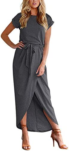 Yidarton Women s Casual Short Sleeve Slit Solid Party Summer Long Maxi Dress Medium Deep Gray product image