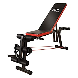 Adjustable Weightlifting Bed, Multifunctional, Home Gym, Barbell Weightlifting Exercise, Fitness Incline, Practical Adjustable Stool for Whole Body Exercise, Foldable, Inclined Drop Stool (Black)