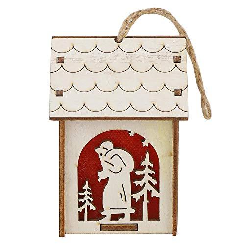 Decoración de luz de estilo colgante Casa de Navidad Decoración de Navidad Adornos de casa de madera Exquisito patrón innovador para un(White trumpet santa)