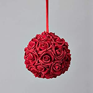 Simply Elegant 8″ Round Foam Pomander Rose Kissing Ball with Satin Ribbon for Hanging Wedding Decor and Centerpieces (12 Pieces)