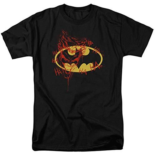Batman Logo Joker Graffiti DC Comics T Shirt & Stickers (Large) Black