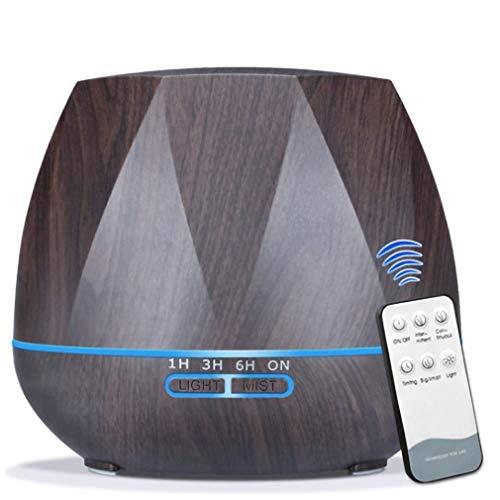 Purificador De Aire Aroma Pulverizador, Dormitorio Redondo Grano De Madera Control Remoto Ultrasónico 7 Luces Tiempo Mute Aceite Esencial Aroma Diffus,Marrón