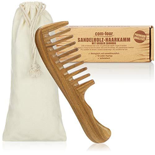 com-four® Premium Sandelholz-Haarkamm, grob gezahnter Haarkamm aus Sandelholz, nachhaltiger Holzkamm aus Massivholz, Frisierkamm für jeden Haartyp (1-teilig Kamm)