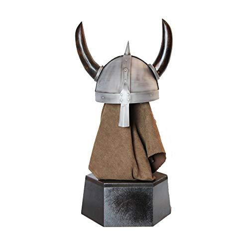 Nvshiyk Disfraz Medieval Guerrero Armor Metal Medieval Horned Helmet Viking Decoracin de Decoracin Decoracin Juego Accesorio para Sombreros de Disfraces (Color : Silver, Size : 32x23.5x61cm)