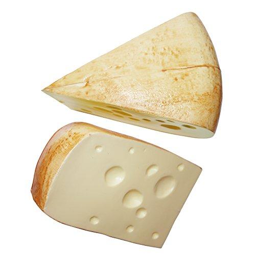 Erro - 2 pezzi di formaggio Emmentaler in plastica, 10318, formaggio decorativo, riproduzione alimentare, alimenti artificiali, accessori di scena per teatro, decorazione per palcoscenico, gastronomia