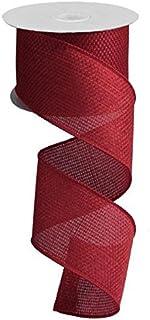 "Cross Royal Burlap Wired Edge Ribbon - 2.5"" x 10 Yards (Burgundy)"