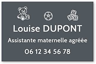 Personaliseerbaar bord voor de kleuterschool, personaliseerbaar, 30 x 20 cm, grijs met witte letters, 3M-plakband