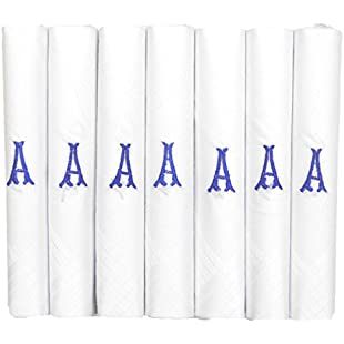 7 Pack Of Mens/Gentlemens White Satin Bordered Handkerchiefs With & Blue Embroidered Initials, A