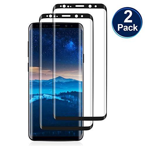 2 Piezas Protector de Pantalla para Samsung Galaxy S9 Plus,Sin Burbujas,Cubierta Completa 3D,0.30MM HD Cristal Templado,Anti-Arañazos,Dureza 9H,Vidrio Templado película Protectora para S9 Plus-Negro