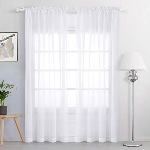 FLOWEROOM Stange Tasche Transparent Voile Gardinen Voile Vorhänge, 213 x 140 cm(H x B), 2 Stück, Weiß, 2er Set