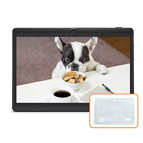 JINYJIA 7 Pollici Tablet PC, Google Android Quad Core, Con Custodia in Silicone Traslucido , Doppia Fotocamera, WiFi, Bluetooth, Per Bambini e Adulti, Nero