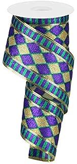 Glitter Harlequin Stripe Wired Edge Ribbon, 2.5