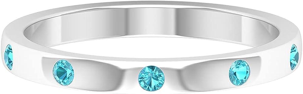 December Birthstone - Flush Set Swiss Blue Topaz Unisex Band Ring (AAA Quality),14K White Gold,Swiss Blue Topaz,Size:US 4.00