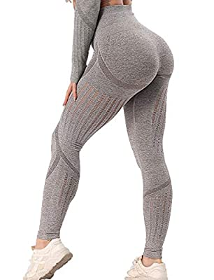 Women's High Waist Seamless Workout Leggings Fitness Compression Ankle Yoga Pants Butt Lift Active Tights Slimming M