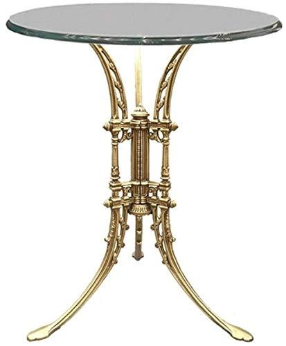 Casa Padrino Luxus Jugendstil Beistelltisch Gold Ø 70 x H. 74 cm - Handgeschmiedeter Schmiedeeisen Tisch mit Glasplatte - Wohnzimmer Garten Terrassen Möbel