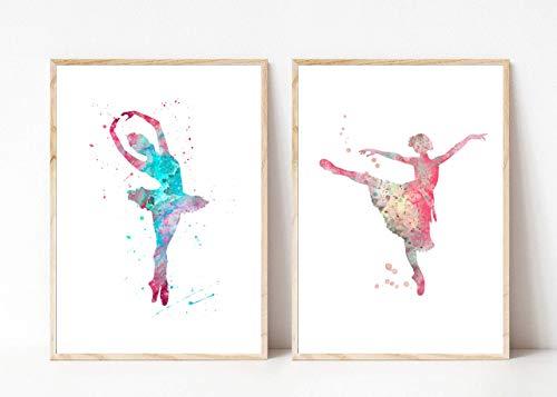 Din A4 Kunstdruck ungerahmt 2-teilig - Tanz Tänzerin Ballett Ballerina Aquarell Wasserfarbe rosa türkis Geschenk Druck Poster Bild