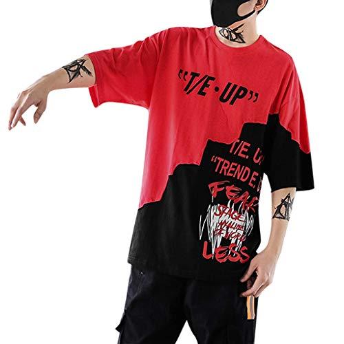 ღLILICATღ Camisetas de Manga Cortas para Hombre con Cuello Redondo Originales Estampada Casual Divertidas Camisa Hip-Hop Imprimir Letras Manga Corta Blusa Tops T-Shirt Pullover Abrigos
