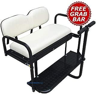 Yamaha G14 / G16 / G19 / G22 Golf Cart Rear Seat Kit - Ivory (Matches Factory Front Seats) - Flip Seat w/Cargo Bed & Free Grab Bar