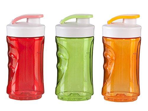 DOMO 3er-Set Ersatzflaschen für Smoothie-Maker, 300ml, rot-orange-grün; DO434BL DO435BL DO436BL