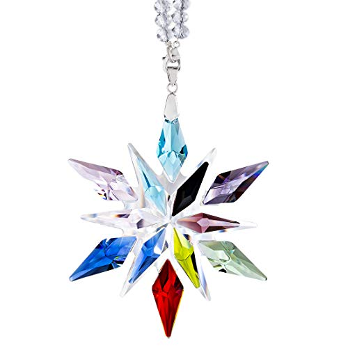 Crystal Snowflake Ornament 2020 Anniversary Edition Glass Hanging Ornament Souvenir Love Gift,Colorful