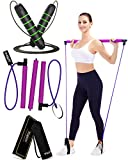 Viajero Pilates Bar with 2 Latex Resistance Bands & Jump Rope, All-in-one Home Gym Workout Equipment for Women and Men, Crossfit Fitness