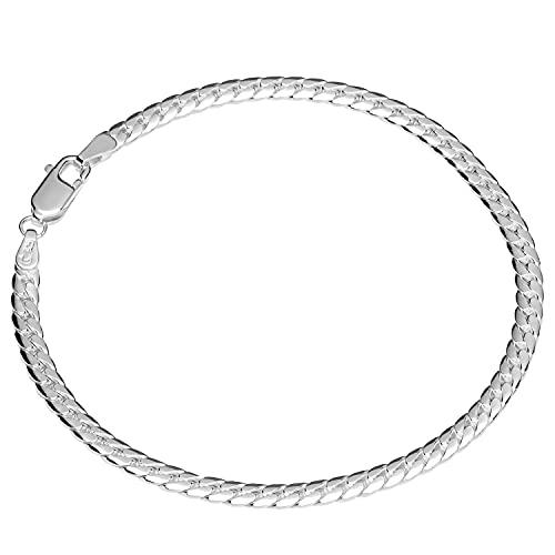 NKlaus Pulsera de plata de ley 925 de 19 cm, cadena plana y torcida, para mujer 12371