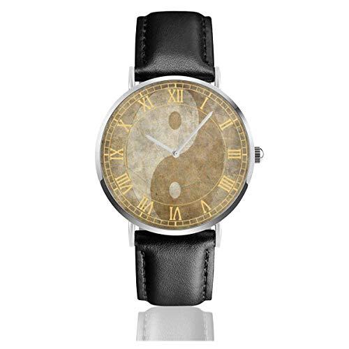 Damenuhr Alte chinesische Yin Yang Lederband Armbanduhr Silvery Watchcase Chronograph Einfache Quarzuhren
