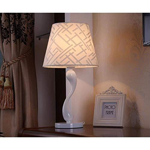 Lámpara de mesa Lámpara moderna, nórdica, minimalista, artística, lámpara de escritorio LED abstractas, luz nocturna LED con el cuerpo de la lámpara hecho porcelana, pantalla de tela, interruptor de a
