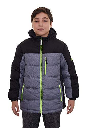 ZeroXposur Boys Puffer Jacket Fleece Lined Hooded Kids Winter Coat with Elastic Cuff (Mid Heather, Medium)
