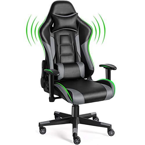Twomaples Silla de videojuegos, silla de oficina de carreras para videojuegos, asiento ergonómico con respaldo – Altura y reposabrazos ajustable reclinable basculante basculante con reposacabezas y almohada lumbar silla E-Sports (gris)