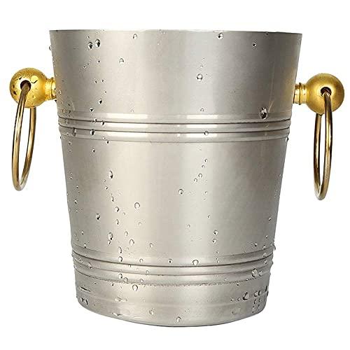 N\C DMKD Cubo de Hielo Espesado portátil Creativo de Estilo Europeo, Barra de Hielo de champán de Vino Tinto, Cubo de Hielo Grande para el hogar, Acero Inoxidable Plateado 5L zkz DMKD
