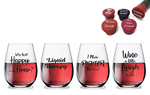 4 Wine Glasses 16oz Unbreakable 5 Pack Wine Corks Stoppers & Box included-Great Food Grade Plastic Funny and Durable Shatterproof Stemless Wine beer Cocktail Any Outdoor Party Pool Beach 16oz