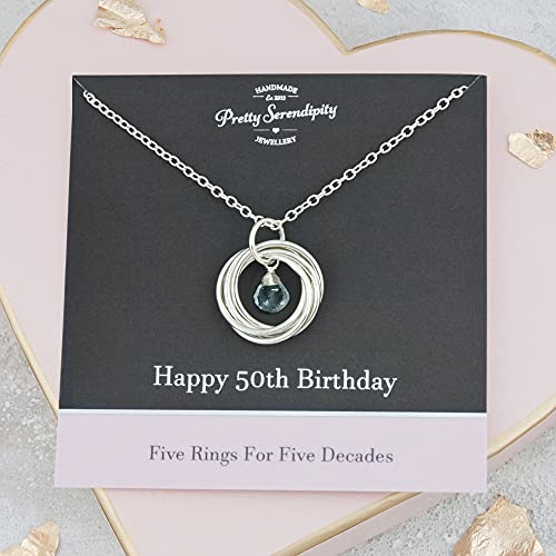 50th Birthday Necklace with Birthstone - 50th Birthday Gift - 5 Rings For 5 Decades