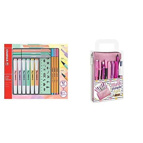STABILO Pastel Collection Set –Confezione mista 13pezzi: 6swing cool pastel & BIC Pink & Purple Set - 1 Astuccio, 2 Penne a Sfera/1 Penna Correttore Gel/1 Matita Grafite con Gomma