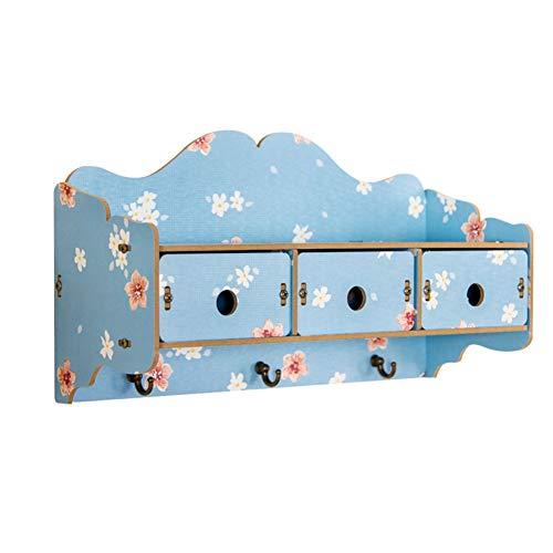 WZNING Los estantes flotantes Colgar de la Pared de Madera sólida Plataforma Hook Up Hall Llave del cajón de Almacenamiento Caja de Almacenamiento Estante (Color : SNOWLOTUS, Size : 41X15X23CM)