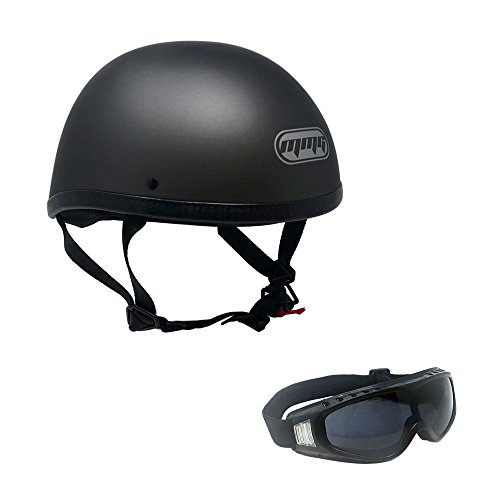 MMG 885 Motorcycle Contoured Half Helmet Cruiser DOT Street Legal, Large, Titanium Gray with Complimentary Smoked Goggles