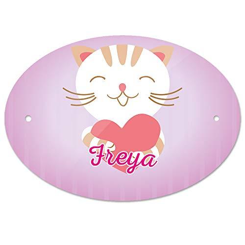 Eurofoto Türschild mit Namen Freya und Motiv Katze mit Herz | Kinderzimmer-Schild