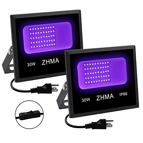 ZHMA 30W Black Light Flood Light with Plug,2 Pack LED Black Light for Parties, Black Lights for Glow Party ,for Christmas Decoration ,Stage ,Fluorescent Poster,Neon Glow