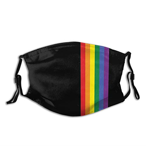 Rainbow Pride Lgbt Face Mask Unisex Balaclava Mouth Cover With Filter Windproof Dustproof Adjustable
