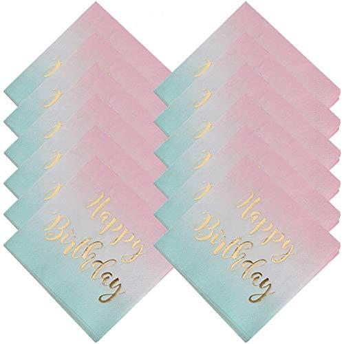 BESTZY Tovaglioli Compleanno 48 Pezzi Tovagliolo di Carta Tovaglioli di Carta per Anni Compleanno per Matrimoni e Feste di Compleanno Festa Carnevale Supplies